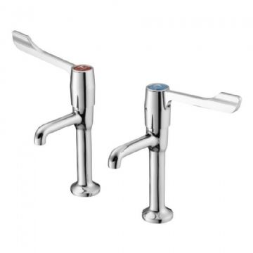 Armitage Shanks Markwik high neck pillar tap pair in chrome. S8265AA